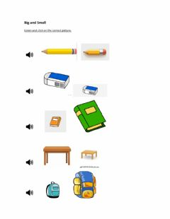 Interactive worksheet Big and Small classroom objects