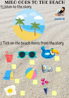 Interactive worksheet Milo goes to the beach