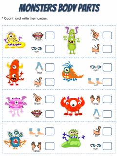 Interactive worksheet Monsters Body Parts