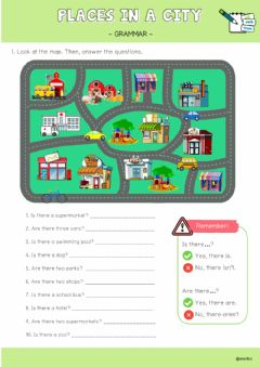 Interactive worksheet Places in a town or city