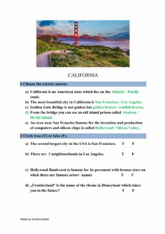 Interactive worksheet California - prilagođeni