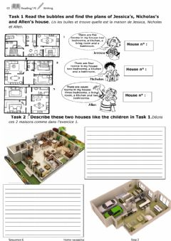 Interactive worksheet Reading writing description rooms house