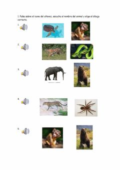 Interactive worksheet Listen and choose the animal.