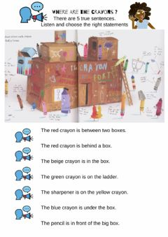Interactive worksheet Prepositions OF PLACE. THE DAY THE CRAYONS QUIT