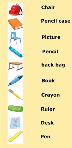 Interactive worksheet 1st Grade: Vocabulary - Class Objects