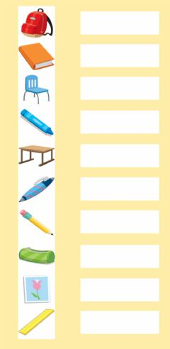 Interactive worksheet 1st Grade: Vocabulary - Class Objects 2