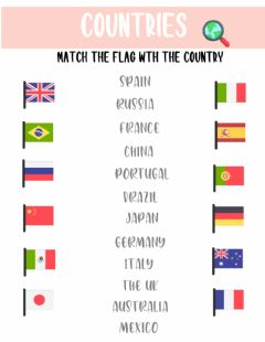 Ficha interactiva Flags and countries