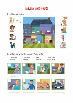 Interactive worksheet Family and house parts
