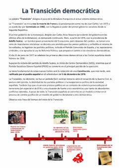 Interactive worksheet La Transición democrática