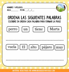 Interactive worksheet Ordenar palabras