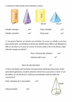 Interactive worksheet Conos y cilindros
