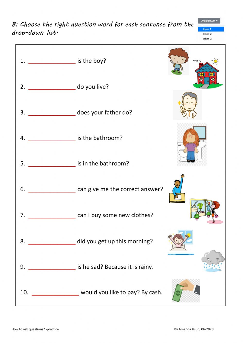 How to ask questions-practice worksheet
