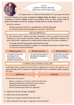 Interactive worksheet Dictadura y democracia