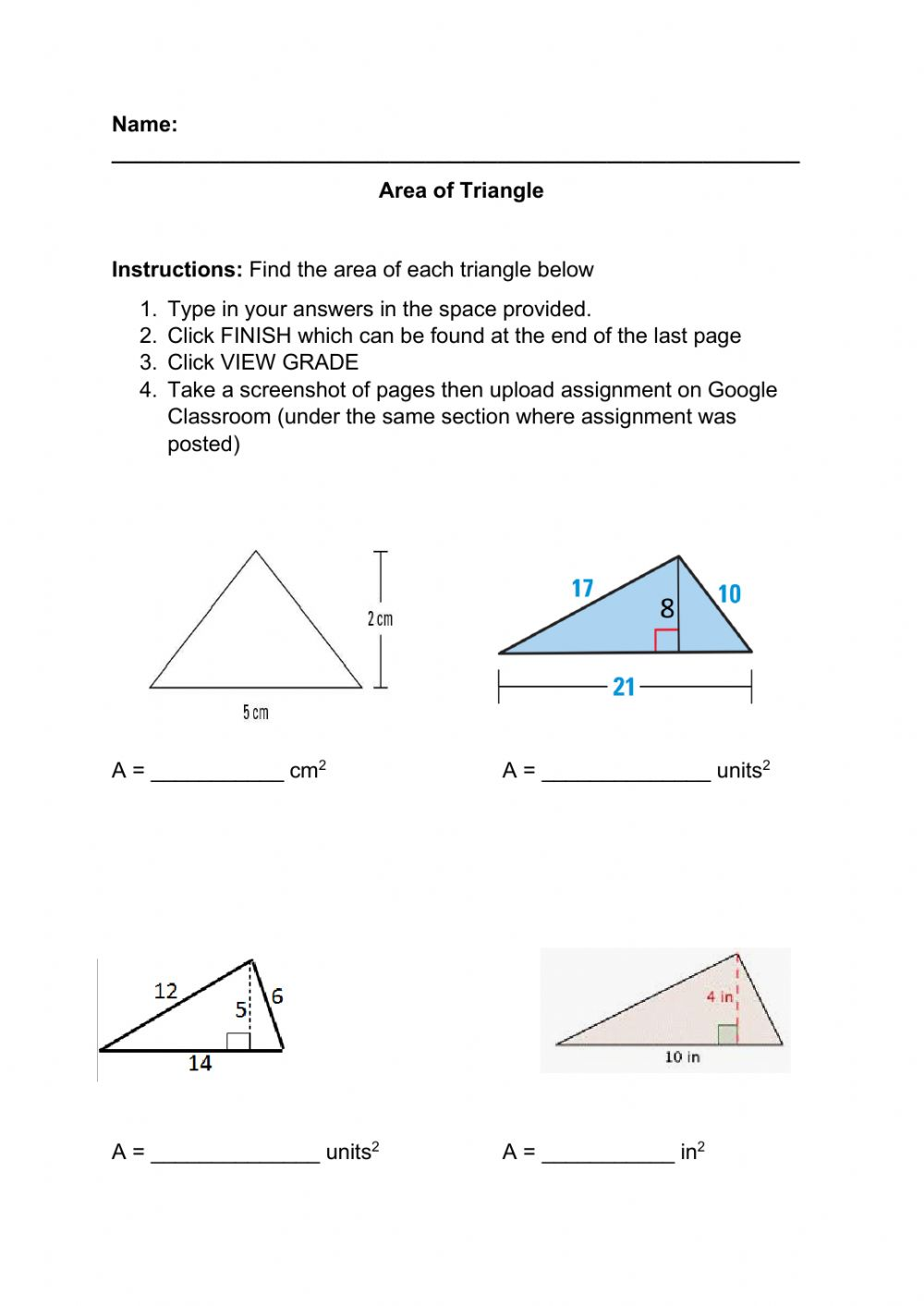 Area of Triangle - Interactive worksheet