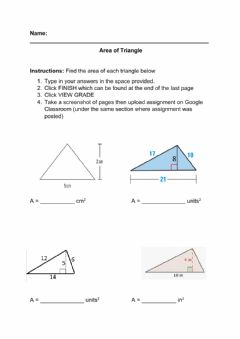 Interactive worksheet Area of Triangle
