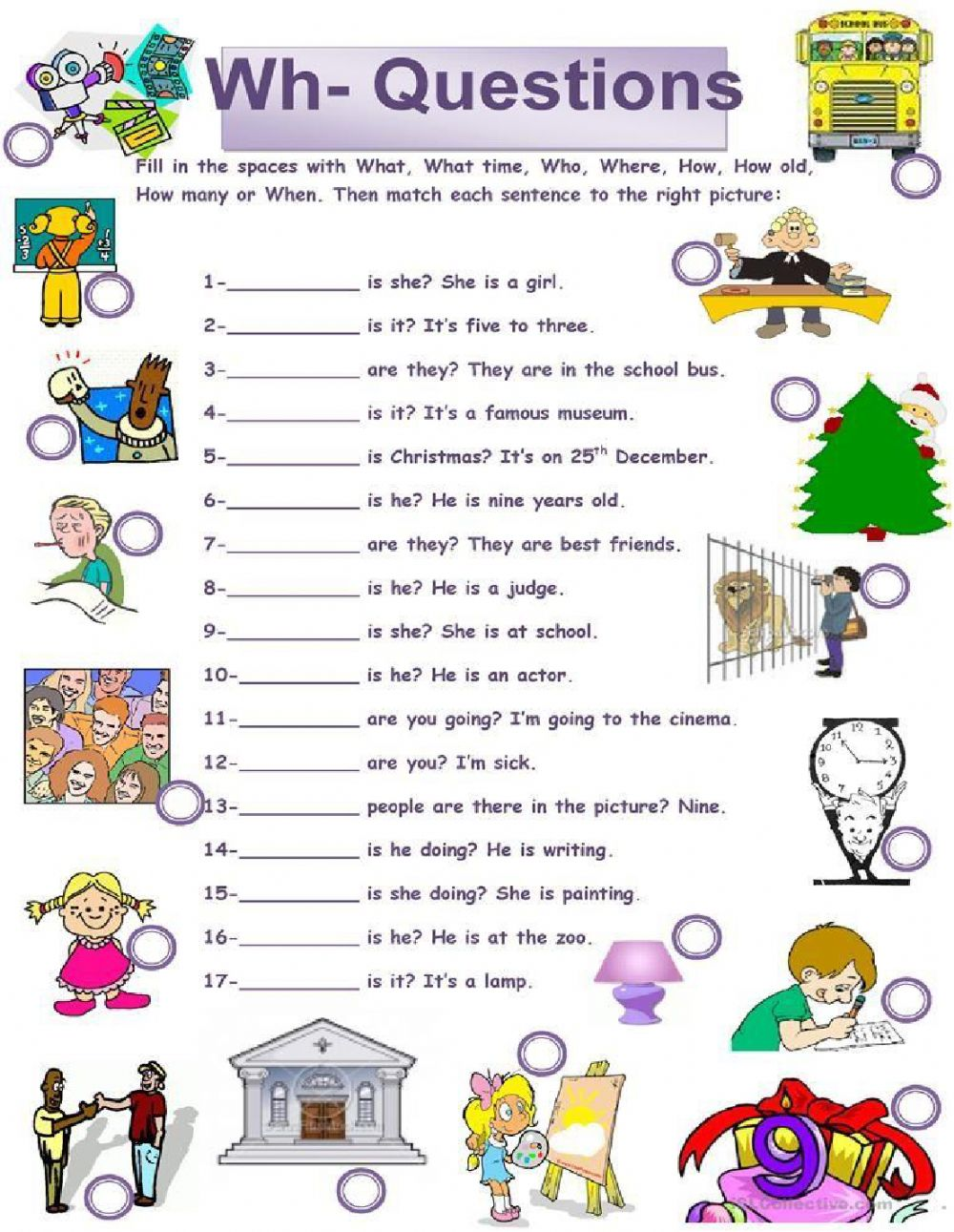 Wh Questions Worksheet - Interactive worksheet