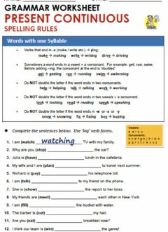 Interactive worksheet Present Progressive