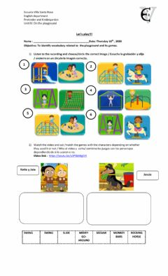Interactive worksheet On the playground - listening