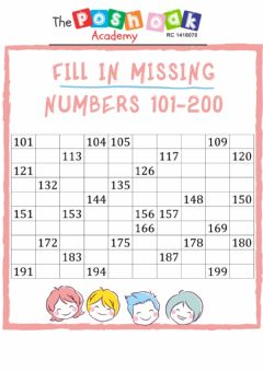 Interactive worksheet Fill in missing numbers 101-200