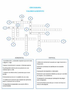Interactive worksheet Valores y respeto