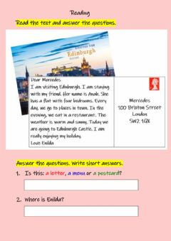 Interactive worksheet Reading - On holiday