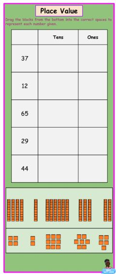 Interactive worksheet Place Value with Base 10 Blocks - 1