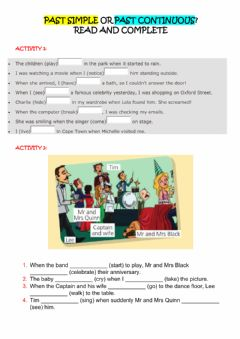 Interactive worksheet Past simple and continuous