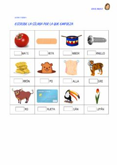 Interactive worksheet Letra T: ficha 4