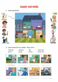 Interactive worksheet Family and parts of the house