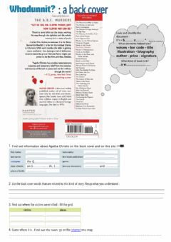 Interactive worksheet Whodunit back cover reading and listening