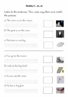 Interactive worksheet Reading.4 - oa, oo.