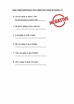 Ficha interactiva Negative with be going to