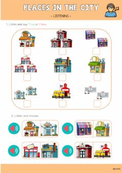 Ficha interactiva Places in a town or city