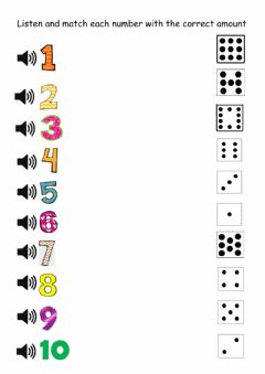 Ficha interactiva Match each number with the correct amount
