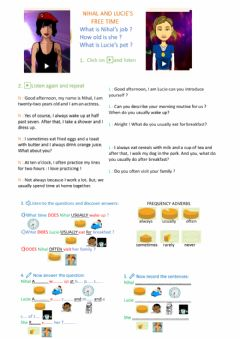 Interactive worksheet Nihal and Lucie's routines