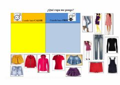 Interactive worksheet Frio - calor