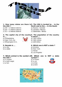 Interactive worksheet Quiz about the USA