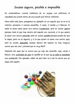Interactive worksheet Suceso seguro, posible e imposible