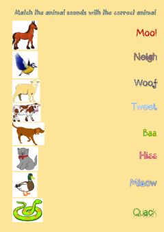 Interactive worksheet 4th Grade, Unit 6, Animal Sounds