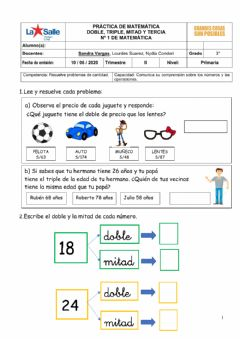 Interactive worksheet Doble, triple, mitad y tercia