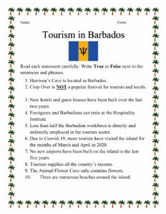 Interactive worksheet Tourism in Barbados