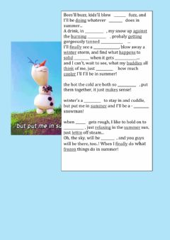 Interactive worksheet Frozen: Olaf's song- In summer