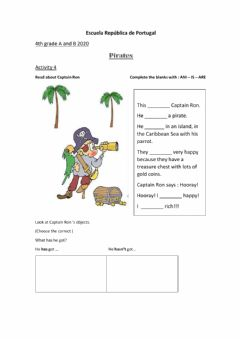 Interactive worksheet Pirates - V. to be and have got