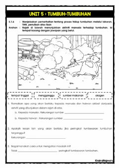 Interactive worksheet Unit 5: Tumbuh-tumbuhan