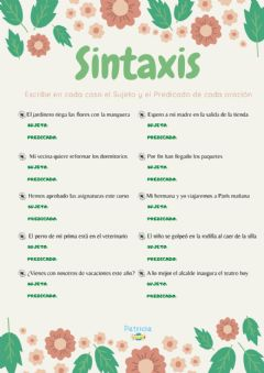 Interactive worksheet Sintaxis