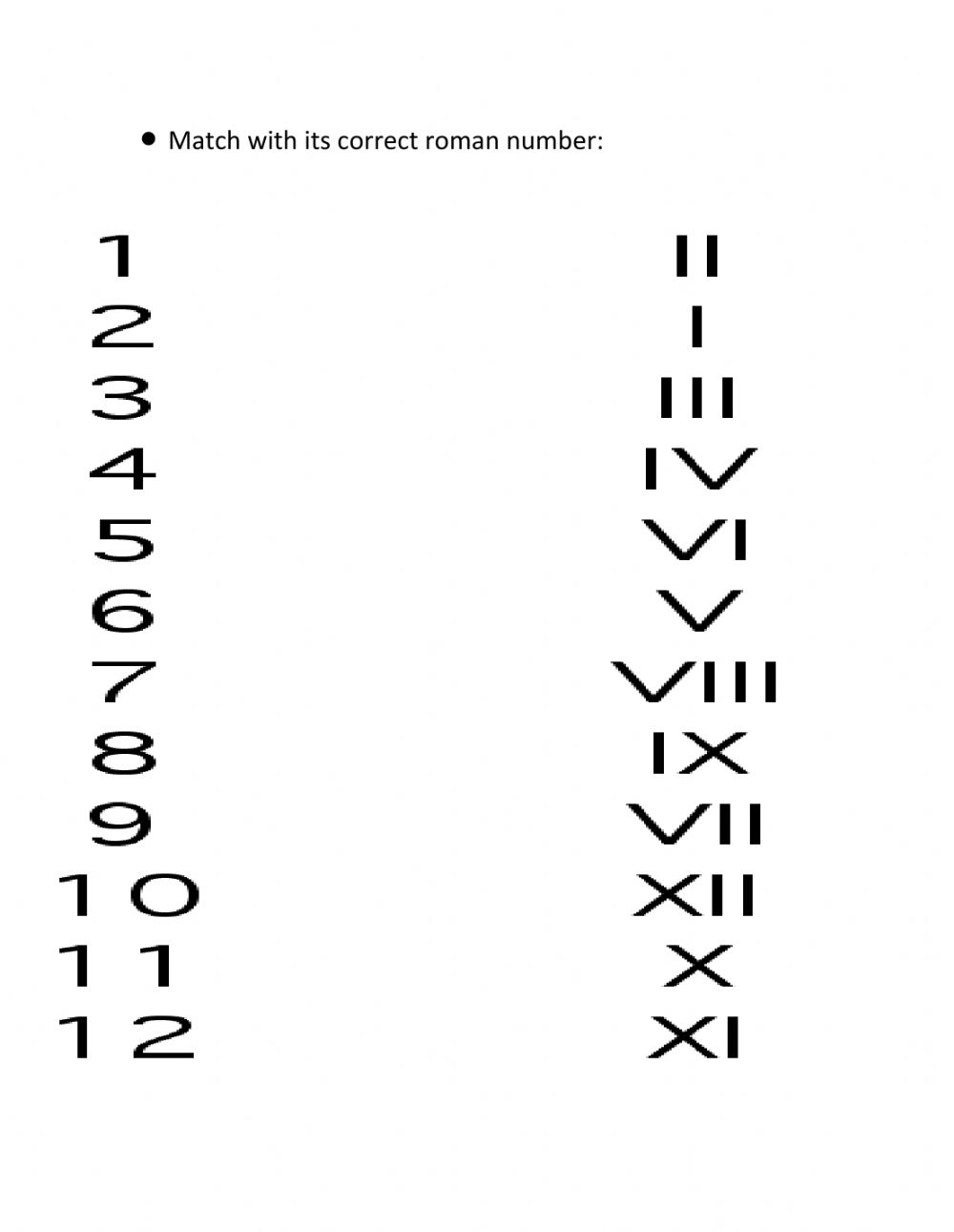 Roman Numbers worksheet