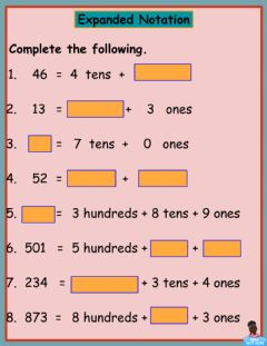 Interactive worksheet Expanded Notation 4
