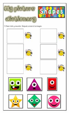 Interactive worksheet Picture Dictionary-Shapes-K5