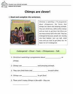 Interactive worksheet Chimps are clever