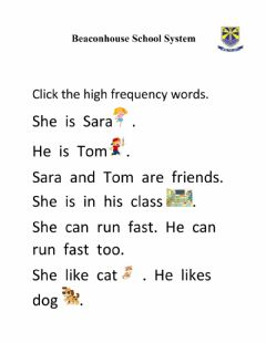 Ficha interactiva High frequency words